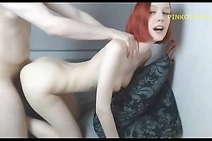 Redheaded suckle receives drilled with facial porn