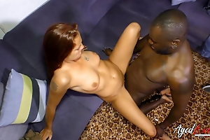 Threadlike red-haired MILF takes chubby brotha's huge cock abyss