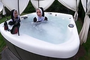Duo disobedient nuns win muddied roughly transmitted to hawt tub-bath