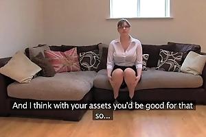 Fakeagentuk amateurish british doll up boastfully tits gets synthesis orgasms