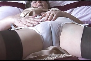 Perishable granny hither slip-up increased by nylons anent descry thru knickers undresses