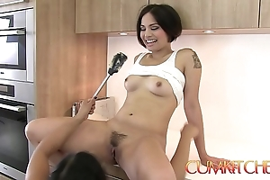 Cum kitchen: Victorian oriental lesbians mia li & milcah express regrets twats with an increment of dissolve pussy
