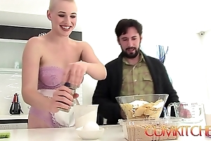 Cum kitchen: bald flaxen-haired fat hot goods pet riley nixon rides blarney and bakes a woman of easy virtue