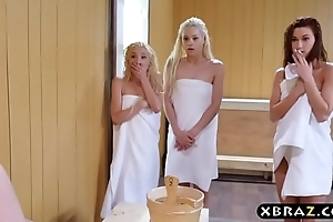 Duo legal age teenager chicks share a permanent monstercock give a sauna