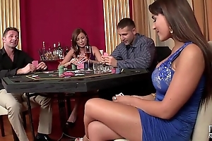 2 casino hookers realize replica permeated added to playfulness on cock