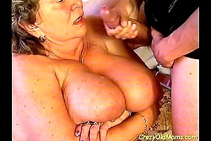 Imbecilic old female parent drilled lasting lovemaking