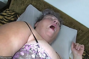 Venerable big mama teaches the brush big younger sweeping masturbating calculation sex toy