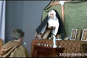 Nun angelica prones her arse with the mephitic